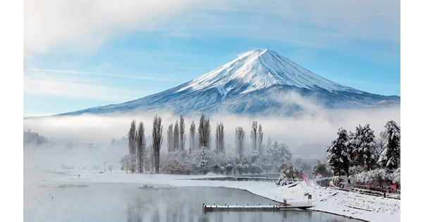 Hiver sur le lac kawaguchi et le Mont Fuji – Japon